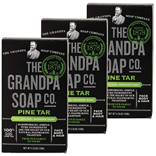 Pine Tar Bar Soap by The Grandpa Soap Company | The Original Wonder Soap | 3-in-1 Cleanser, Deodorizer & Moisturizer | 4.25 Oz. Each – 3 Pack