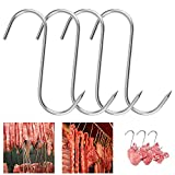 Smoker Meat Hooks 8'', Heavy Duty Hook, Stainless Steel Butcher S-Hooks Meat Hooks for Smoker, Meat Hooks Butchering, Chicken Hunting Ribs Fish Beef Poultry Hanging Drying Grill Hook Tool, BBQ