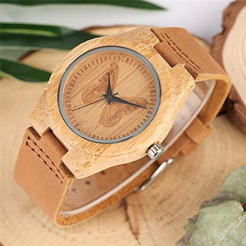 UIOXAIE Reloj de Madera Los Mejores Regalos, Relojes Minimalistas de Madera de bambú para Mujer, Reloj de Vestir con Esfera de Mariposa Tallada 100% a Mano, Cuero Informal Suave