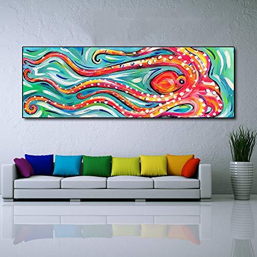 N / A Leinwand Malerei Tier Ölgemälde Farbe Tintenfisch Leinwand Malerei Wohnzimmer Wohnkultur Rahmenlos 16x48cm