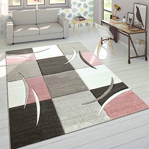 Alfombra De Diseño Moderna Contorneada En Colores Pastel con Estampado Cuadriculado En Beige Y Rosa, tamaño:60x110 cm