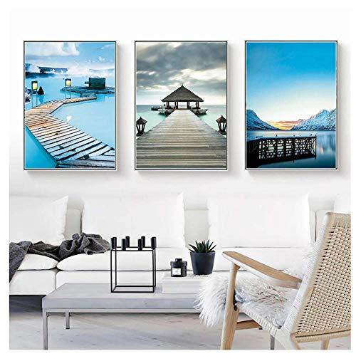 Posters Wall Art Canvas Schilderij Modulaire Afbeeldingen Blauw Zeezicht Paviljoen Noordse Stijl Voor Woonkamer Home Decor Prints-40X60Cmx3 Stks Geen Frame