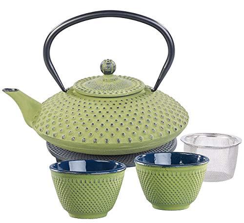 Rosenstein & Söhne Teeset: Asiatische Teekanne, Untersetzer und 2 Becher aus Gusseisen, olivgrün (Asiatisches Teeset)
