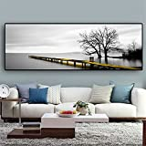 LTGBQNM Calma Lago Superficie Larga Puente Escena Árbol Blanco Y Negro Pinturas Pinturas Cartel Imprimir Muro Arte Fotos Sala de Estar Decoración para el hogar 20x59InCHX1 No Frame