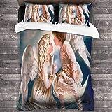Butlerame Angel Wing Boy Girl Kiss Pintura Juego de sábanas Juego de sábanas Resistencia a Las Arrugas Juego de Funda de decoración de Cama Moderna Juego de edredón de Dormitorio de 3 Piezas