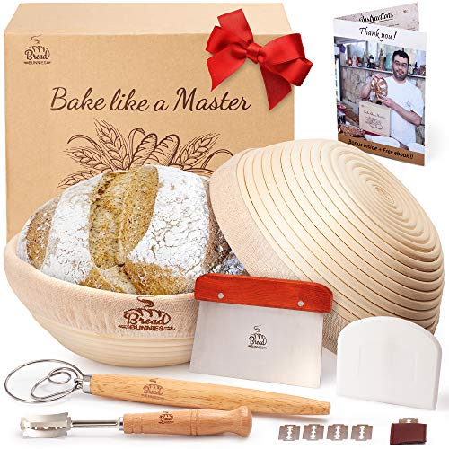 BREAD BUNNIES Banneton Bread Proofing Basket Set of 2 Round 9 Inch + Sourdough Bread Making Tools Kit, Baking Gifts for Bakers, Linen Liner, Bread Lame, Dough Scraper, Bowl Scraper, Danish Dough Whisk