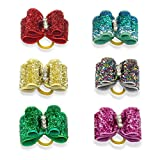 image of Cute Dog Hair Bows with Rubber Bands - Crystal Rhinestone Studded, 20 pcs