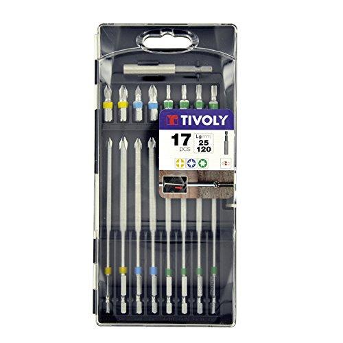 Tivoly 11501570038 Coffret d'Embouts de Vissage, Gris, 25/120mm, Set de 17 Pièces