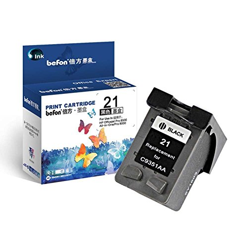 Befon 21XL - Cartuccia rigenerata per HP 21 XL, confezione da 1 pezzo, compatibile con HP Deskjet F2280 F380 F4180 D2360 D1460 PSC 1410 (21XL)