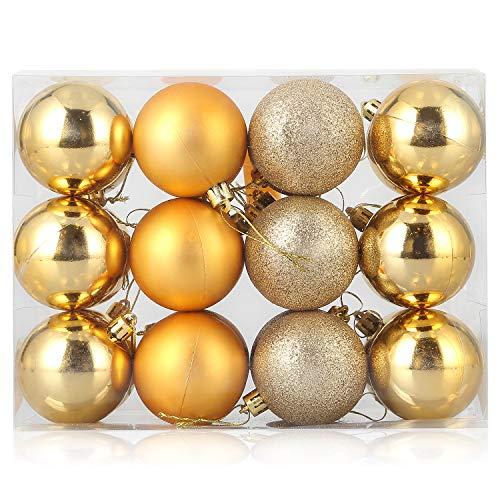 Zogin, Confezione da 24 palline di Natale infrangibili, decorazioni per albero di Natale, per feste, matrimoni, confezioni regalo