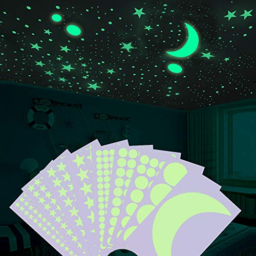 Glow in The Dark Stars, Sopito Glowing Stars Stickers for Ceiling Wall Decals with Adhesive Moon and Dots Perfect Kids Bedroom Decals Party Decoration, 502 PCS