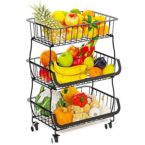 Wire Market Basket Stand, Veckle 3 Tier Fruit Basket with Rolling Wheels Detachable Fruit Holder for Countertop Metal Storage Organizer for Kitchen Floor Bathroom Living Room