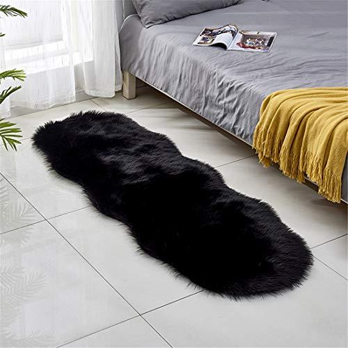 GLITZFAS Künstliche Schaffell Teppich,Kunstfell in Super weich Lammfellimitat Teppich Longhair Fell Optik Nachahmung Wolle Bettvorleger Sofa Matte,60 * 180cm (Schwarz)