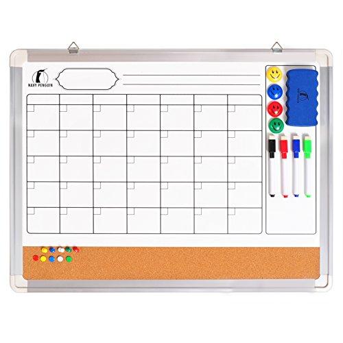 Set Calendario de Pizarra Blanca/Tablero de Corcho - Calendario de Pared Mensual de 60 x 45 cm + 1 Borrador Magnético, 4 Rotuladores Borrado en Seco, 4 Imanes y 10 Chinchetas