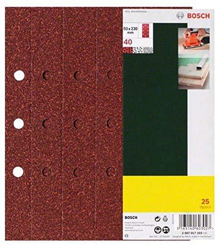 Bosch 25-teiliges Schleifblatt-Set für Schwingschleifer, 93 x 230 mm, 8 Löcher, Körnung 40, 2607017103