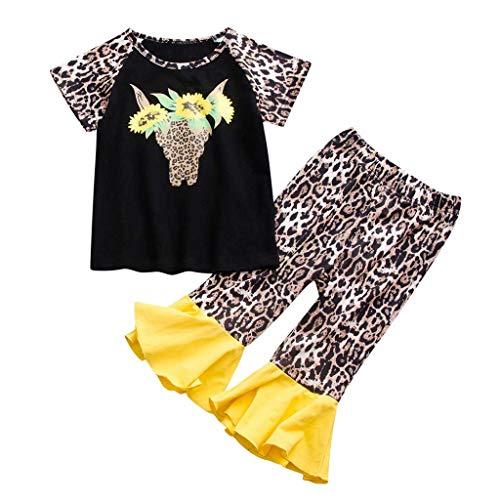 Cuteelf Kinder Baby Mädchen Leopardenmuster Sonnenblume Brief T Shirt Hosen Outfits Kurzarm Leopardenmuster Sonnenblume Sonnenblume Alphabet T-Shirt + Schlaghose zweiteiliger Anzug