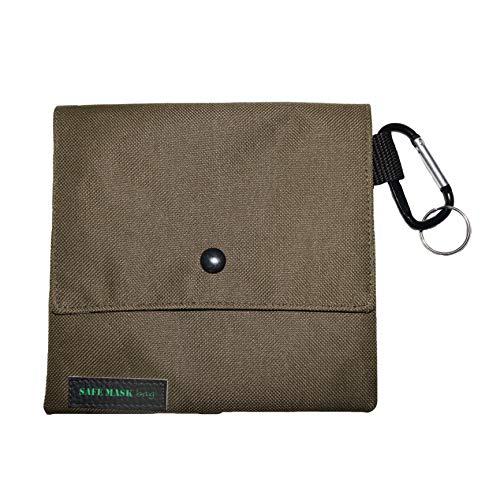 SAFE MASK BAG Bolso Porta Mascarillas Cuadrado (Verde Oliva con Interior Dibujo Variado)