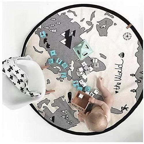 Bluelliant Manta De Juegos para Bebé Alfombra Gateo Mapa del Mundo Tapete De Juego para Gatear Estera De Arrastre Redonda para Bebés