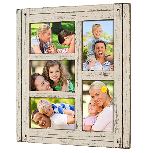 Excello Global Products Collage Picture Frames from Rustic Distressed Wood: Holds Five 4x6 Photos - EGP-HD-0024