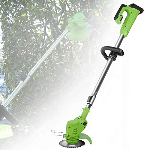 ZZJCY Portable 24V Lawn Mower U-Handle String Trimmer with Height Adjustable, 2PCS 10Ah Battery and One Charger Included, Powerful and Portable Grass Trimmer Edger