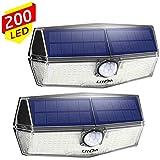 200 LED Luci Solari Esterno【2019 Ultimi Modelli 】Luce Solare Sensore con Movimento Esterna 3 Modalità di Illuminazione, Impermeabile IPX7, 270ºIlluminazione Lampada Solare per Giardino