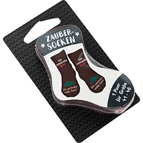 Die Geschenkewelt Gruss und Co 45599 Zauber-Socken mit lustigem Spruch Ich schnarche nicht, ich vertreibe wilde Tiere Geschenk-Artikel, 80% Baumwolle, 15% Nylon, 5% Elastan, Schwarz, Größe 41-46