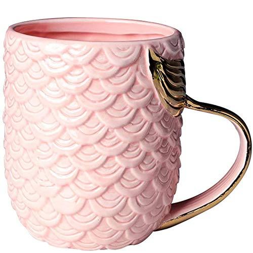 VANUODA Meerjungfrau Tasse, Keramik Kaffee Becher mit Meerjungfrau Schwanz Griff, Personalisierte Geschenk für Frauen Mama Oma Mädchen - Muttertag - Geburtstag - Weihnachten - Hochzeit (Rosa)