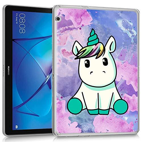 ZhuoFan Funda Huawei Mediapad T3 10, Case Carcasa Silicona Transparente con Dibujos Antigolpes Cover Piel de Protector Compatible con Tableta Huawei Mediapad T3 10 9.6 Pulgadas, Unicornio