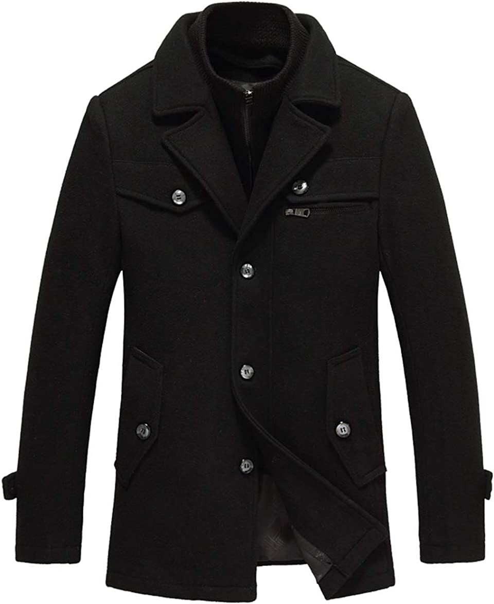 CHARTOU Men's Classic Thicken Notched Collar Single Breasted Wool Blend Jacket Pea Coat