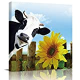 Chucoco Farm Fence Cow Sunflower Oil Paintings On Canvas Wall Art,Nature Countryside Abstract Print Artwork with Framed Ready to Hang, Living Room Kitchen Corridor Bedroom Office Decor