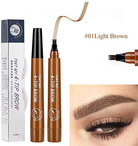 4 Points Eyebrow Pen - Waterproof Eyebrow Pencil, No Fading Brow Pencil Creates Flawless & Natural Looking Brows Effortlessly and Stays on All Day - Easy Apply and Remove (Light Brown)