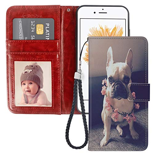 Pingge iPhone 5 iPhone 5S iPhone SE Wallet Case French Bulldog with Pink Flowers Lightweight Slim Shockproof Cellphone Case Cover with Card Slots Kickstand for iPhone 5 5S SE