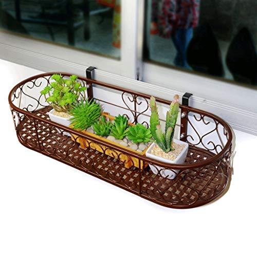 Ovale bloem mounts van de vensterbank Balkon rails Hek hanger Opknoping bloempotten Wandmontage Rek houder voor ijzeren kunst (kleur: zwart, grootte: 100 * 25 cm)