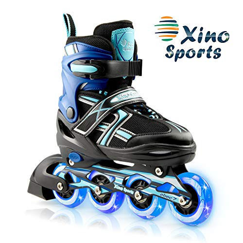 XinoSports Kids Inline Skates for Girls & Boys - Adjustable Roller Blades with LED Illuminating Light Up Wheels - Youth Skates Can Be Used Indoors & Outdoors - Sizes for Ages 5-20 - Aqua Medium - 1-4