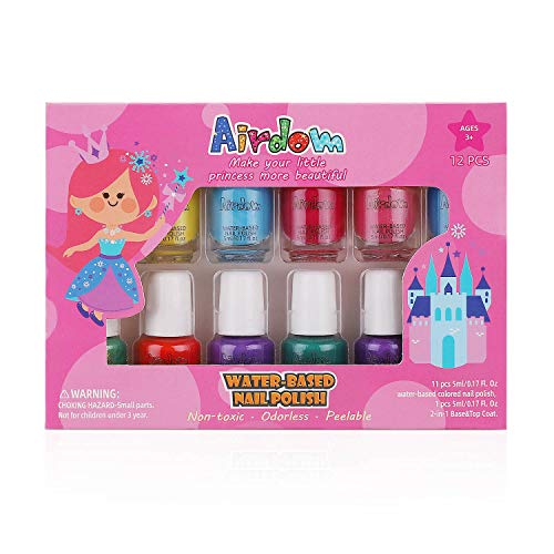 Airdom Non Toxic Kids Nail Polish Set for Toddler Water Based Peel-Off odorless Quick Dry Natural, Gifts for Girls (11 Colors + 1 Coat)