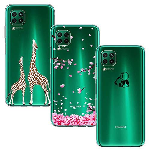 BAOWEI 3-Stück Huawei P40 Lite Hülle, Transparent Weiche Durchsichtig Dünn Handyhülle mit Süße Muster Silikon Klar TPU Stoßfest Schutzhülle Case für Huawei P40 Lite - Kirschblüte, Panda & Giraffe