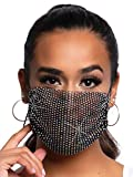 Leg Avenue Women's Harlow Rhinestone Fashionable Mask, Black, One Size US