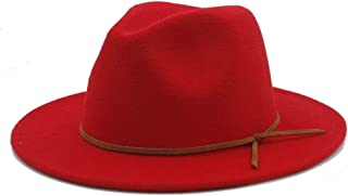2019 Mens Womens Hats Womens Winter Wool Fedora Hat for Women Lady Outdoor Sun Hat Beach Hat Travel Dance Party Hat Wide Brim Church Fascinator Hat Casual Jazz Hat (Color : Red, Size : 56-58)