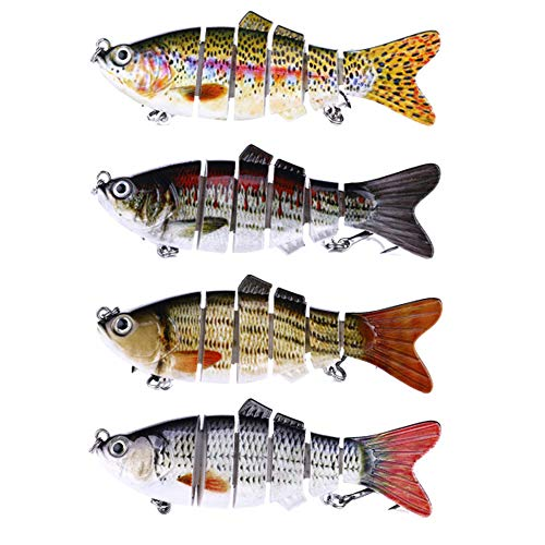 Qianchengda Trading Co., Ltd. Pack of 4 Lifelike Fishing Lures for bass Multi Jointed swimbaits Trout Artificial Hard baits Slow Sinking Hard Lure in Freshwater and Saltwater