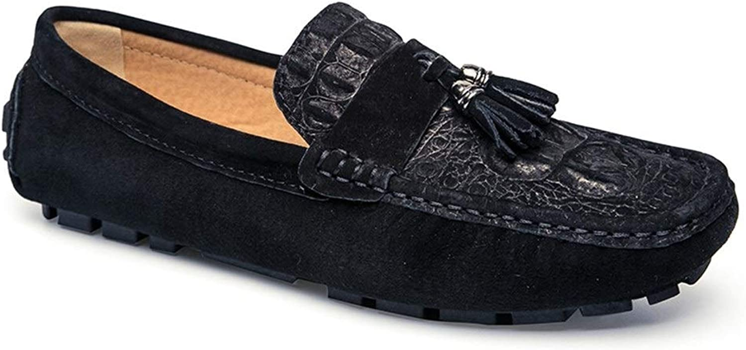 Lightweight Breathable Penny Loafers for Men Genuine Leather Business Dress Wedding Party Fashion Casual shoes Anti-slip Flat Tassel Slip-on Round Toe Cricket shoes (color   Black, Size   9.5 UK)