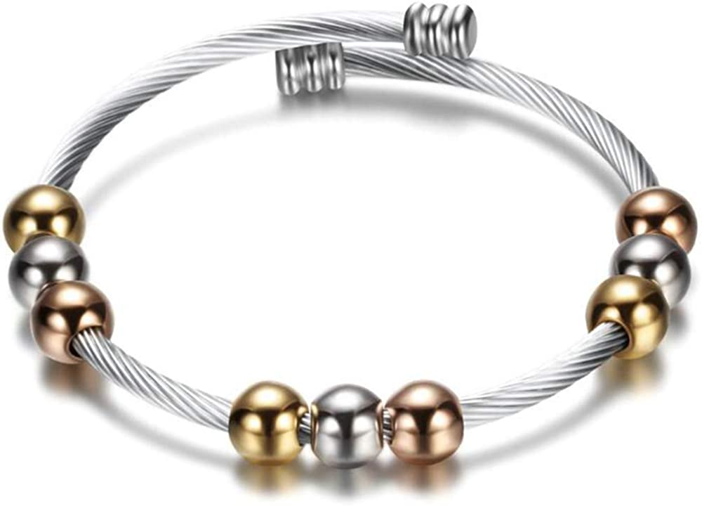 Jude Jewelers Stainless Steel Beaded Cable Wire Open Cuff Elastic Bangle Bracelet