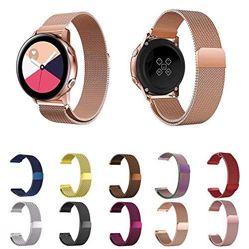 Pulseira Milanese para Samsung Gear S2 Classic - Galaxy Watch 42mm - Gear Sport R600 - Galaxy Watch Active 40mm - Amazfit Bip - Marca Ltimports (Rose Gold)