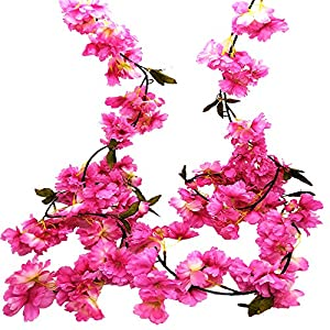 Artificial Cherry Blossom Garland Hanging Vine Fake Flowers Silk Garland Home Wedding Party Decor (Pack of 2)