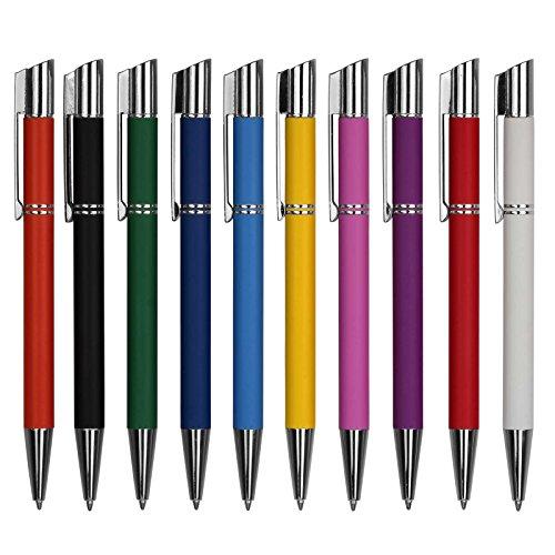 25 Stück Kugelschreiber Malina FARBIG GEMISCHT aus Metall inklusive Gravur einseitig nach Ihren Wünschen (alle Stifte gleiche Gravur)