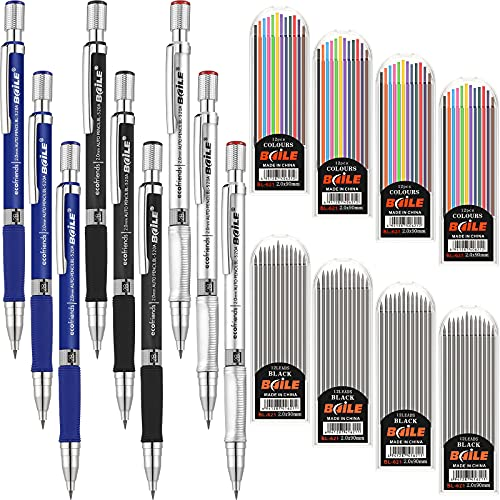 9 Pieces 2.0 mm Mechanical Pencils with 8 Cases Lead Refills Carpenter Pencils Color and Black Refills for Draft Drawing, Crafting, Writing, Art Sketching