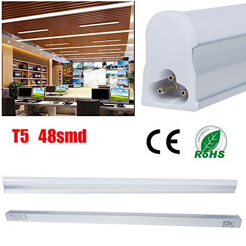 2er THG T5 9W LED Tube Röhre Light Replacement 40W Leuchtstofflampe, Kaltweiß Leuchte Lampe, 60cm, 2ft, 5500K Bar Bulb, Nature White Fluorescent Tube, Energie sparen, 230V, 800lm