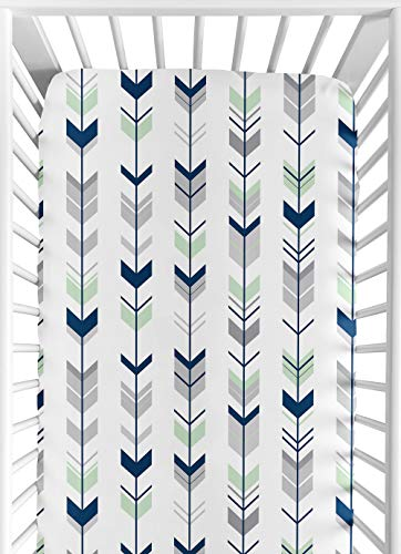 Sweet Jojo Designs Fitted Crib Sheet for Grey, Navy and Mint Woodland Arrow Baby/Toddler Bedding Set Collection - Arrow Print