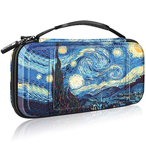 Fintie Carry Case for Nintendo Switch - [Shockproof] Hard Shell Protective Cover Travel Bag w/10 Game Card Slots, Inner Pocket for Nintendo Switch Console Joy-Con & Accessories, Starry Night