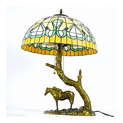 SCAYK Estilo 2 Luz de Escritorio Lámpara Rosa y Dragonfly Lámpara de Mesa de vidrieras Mediterránea 16 Pulgadas Art Bonita Base Base Vintage Lámparas para dormitorios Lámpara de Noche