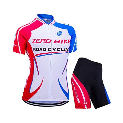 Zerobike® Dames korte mouw met ritssluiting - een cirkelvormige doormakenjersey jersey jack - een cirkel doormakenhemd sneldrogend ademend kussen 3D gevulde korte panty broek